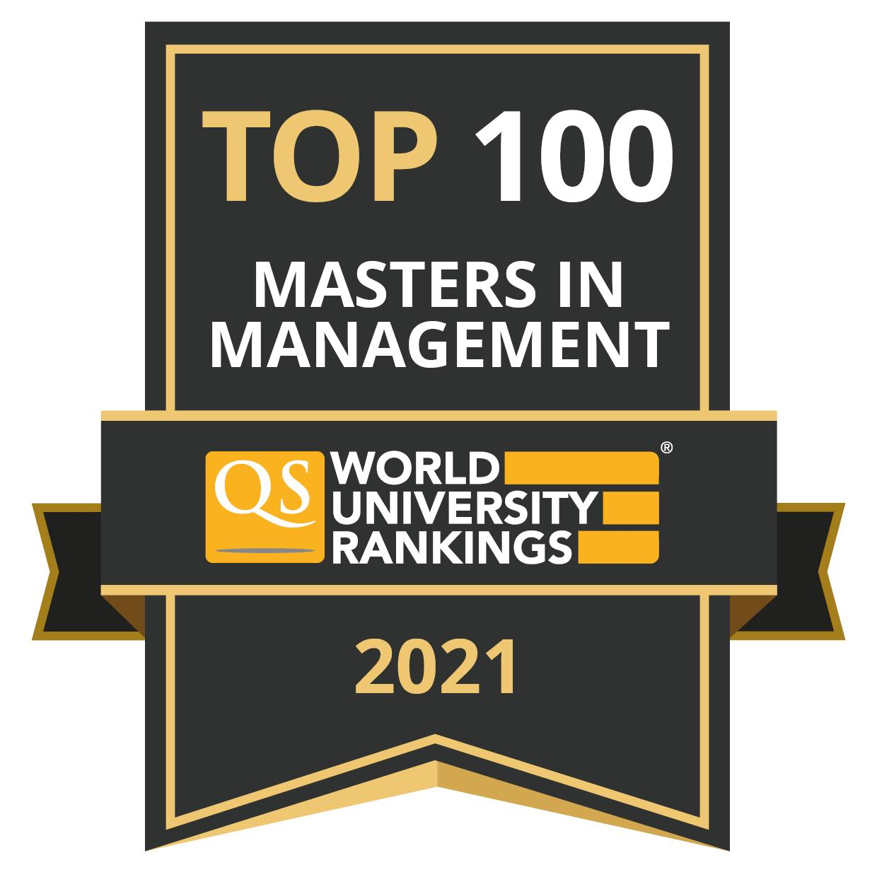 QS business masters top 100 bade for 2021