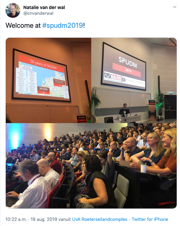 "Tweet from Natalie van der Wal showing conference attendees. Tweet says ""welcome at #SPUDM19"""