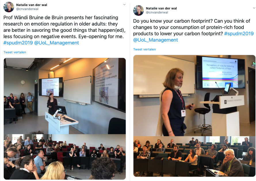Two tweets from Natalie van der Wal - one showing Wandi Bruine de Bruin presenting, and the other showing Astrid Kause presenting