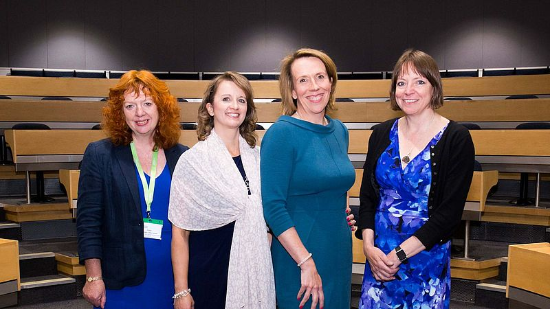 Photograph of the speakers at the Women onto Boards event