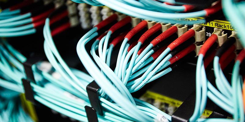 A close-up of wires in the University server room