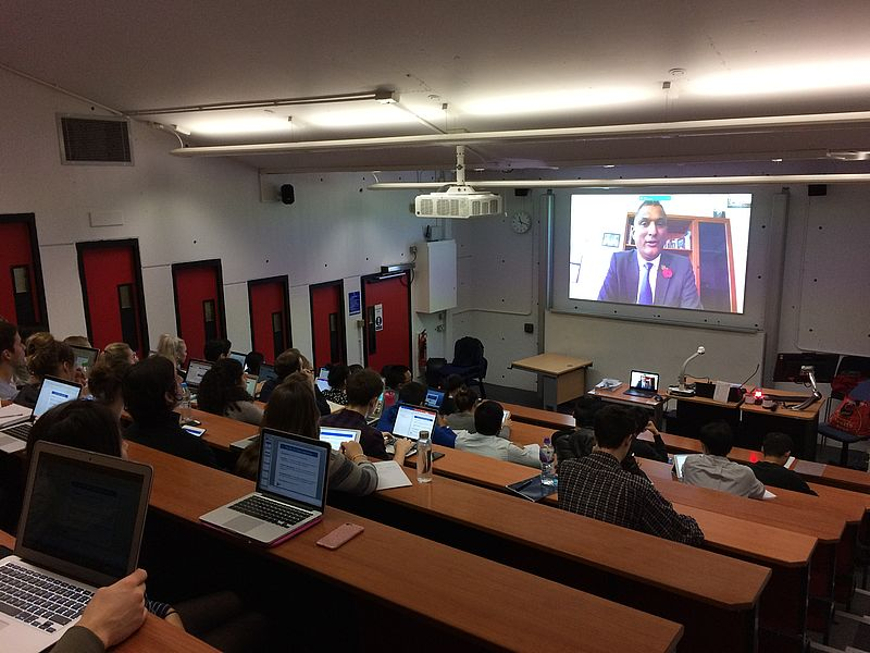 MEP delivers lecture live from Brussels