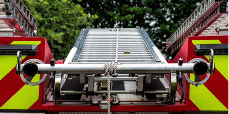 Back of a fire engine with ladders
