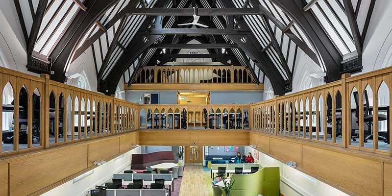 Postgraduate private study with wooden beams
