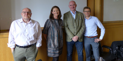 Photo of Pauline Hogg, Jamie Thompson and Paul Grace at the recent MBA panel