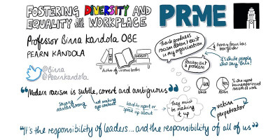 PRME conference doodle for session with Binna Kandola