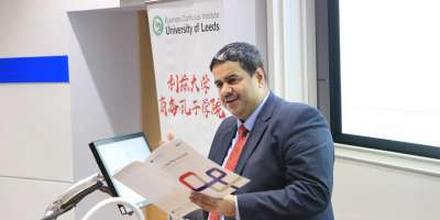 Photo of Chandru Iyer giving the Business Confucius Institute Annual Lecture at EIBA Annual conference 2019