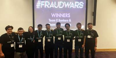 Photo of the winning teams at the Barclays and Symudine Hackathon