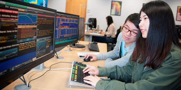 Student in the trading room