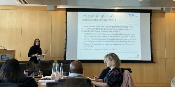 Professor Jennifer Tomlinson presenting at the Equal Pay event hosted by CERIC.