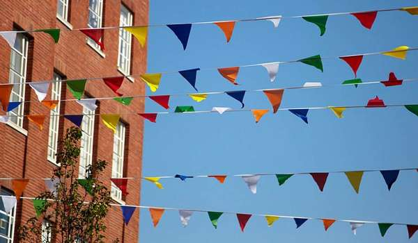 Bunting flags hung up on the university's campus