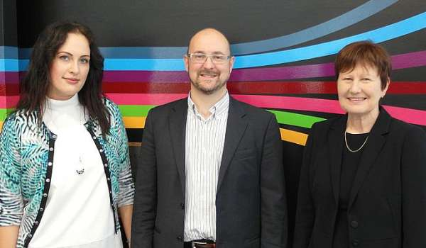 Photograph of Dr Vita Kadile, Professor Matthew Robson and Dr Kathryn Watson